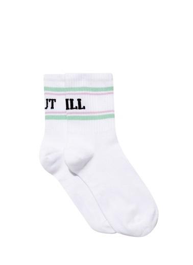 Mavi Yazı Baskılı  Soket Çorap Beyaz